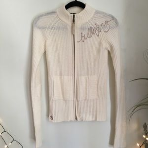 Billabong Cream Knit zip Up Sweater Cardigan